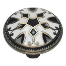 Canterbury Cabinet Knob (1-1/2) - Black/White (3186-B-W) by Atlas Homewares