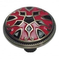 Canterbury Cabinet Knob (1-1/2) - Red/Black (3186-R-B) by Atlas Homewares