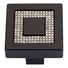Crystal Square Inset Cabinet Knob (1-3/8) - Matte Black (3192-BL) by Atlas Homewares