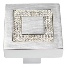 "Crystal Square Inset Cabinet Knob (1-3/8"") - Matte Chrome (3192-MC) by Atlas Homewares"