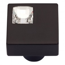 Crystal Off Center Square Cabinet Knob (1) - Matte Black (3194-BL) by Atlas Homewares