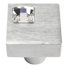 "Crystal Off Center Square Cabinet Knob (1"") - Matte Chrome (3194-MC) by Atlas Homewares"