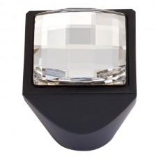 """Crystal Large Square Cabinet Knob (1"""") - Matte Black (3196-BL) by Atlas Homewares"""