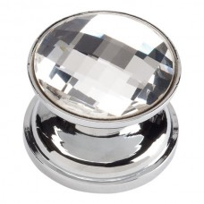 Crystal Large Round Cabinet Knob (7/8) - Polished Chrome (3197-CH) by Atlas Homewares