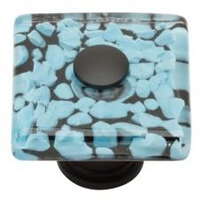 "Marine Glass Square Cabinet Knob (1-1/2"") - Matte Black (3225-BL) by Atlas Homewares"