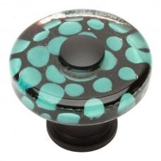"Emerald Polka Dot Glass Cabinet Knob (1-1/2"") - Matte Black (3227-BL) by Atlas Homewares"