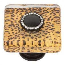 "Cheetah Glass Square Cabinet Knob (1-1/2"") - Matte Black (3232-BL) by Atlas Homewares"