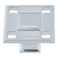 "Modern Craftsman Square Cabinet Knob (1-5/16"") - Brushed Nickel (4007-BRN) by Atlas Homewares"