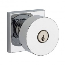 Contemporary Keyed Door Knob Set w/ Contemporary Square Rosette (CON) by Baldwin Reserve