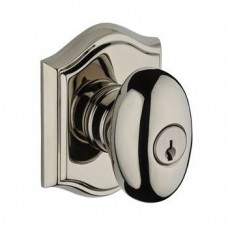 Traditional Ellipse Keyed Door Knob Set w/ Traditional Arch Rosette (ELL) by Baldwin Reserve