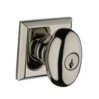 Traditional Ellipse Keyed Door Knob Set w/ Traditional Square Rosette (ELL) by Baldwin Reserve