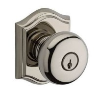 Traditional Round Keyed Door Knob Set w/ Traditional Arch Rosette (ROU) by Baldwin Reserve