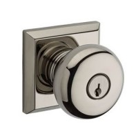 Traditional Round Keyed Door Knob Set w/ Traditional Square Rosette (ROU) by Baldwin Reserve