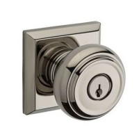 Traditional Keyed Door Knob Set w/ Traditional Square Rosette (TRA) by Baldwin Reserve
