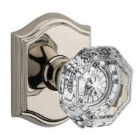 Traditional Crystal Door Knob Set w/ Traditional Arch Rosette (CRY) by Baldwin Reserve