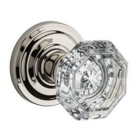 Traditional Crystal Door Knob Set w/ Traditional Round Rosette (CRY) by Baldwin Reserve