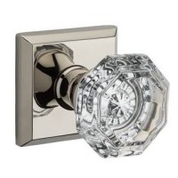 Traditional Crystal Door Knob Set w/ Traditional Square Rosette (CRY) by Baldwin Reserve