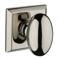 Traditional Ellipse Door Knob Set w/ Traditional Square Rosette (ELL) by Baldwin Reserve
