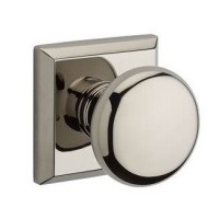 Traditional Round Door Knob Set w/ Traditional Square Rosette (ROU) by Baldwin Reserve