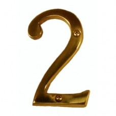 "Traditional 4"" Brass #2 House Number (I07-N5320) in Various Finishes by Brass Accents"