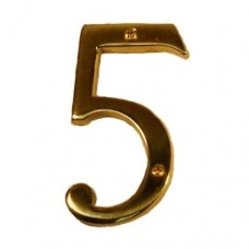 "Traditional 4"" Brass #5 House Number (I07-N5350) in Various Finishes by Brass Accents"