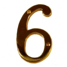 "Traditional 4"" Brass #6 House Number (I07-N5360) in Various Finishes by Brass Accents"
