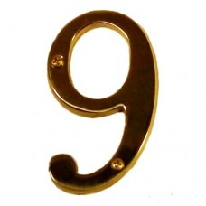 "Traditional 4"" Brass #9 House Number (I07-N5360) in Various Finishes by Brass Accents"