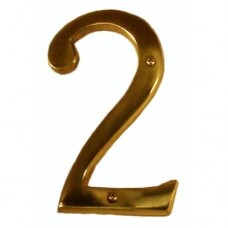 "Traditional 6"" Brass #2 House Number (I07-N5520) in Various Finishes by Brass Accents"