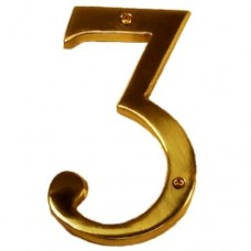 """Traditional 6"""" Brass #3 House Number (I07-N5530) in Various Finishes by Brass Accents"""