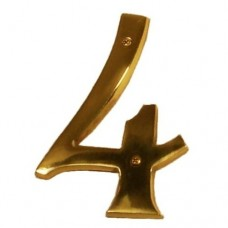 "Traditional 6"" Brass #4 House Number (I07-N5540) in Various Finishes by Brass Accents"