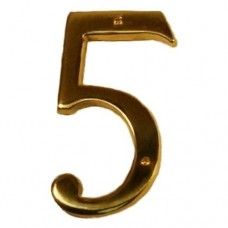 "Traditional 6"" Brass #5 House Number (I07-N5550) in Various Finishes by Brass Accents"