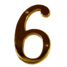 "Traditional 6"" Brass #6 House Number (I07-N5560) in Various Finishes by Brass Accents"