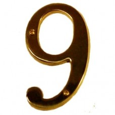 "Traditional 6"" Brass #9 House Number (I07-N5560) in Various Finishes by Brass Accents"