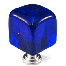 "Large Blue Cube Cabinet Knob (1-1/4"") (CLB) by Cal Crystal"