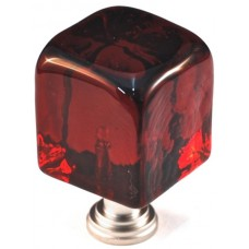 "Large Red Cube Cabinet Knob (1-1/4"") (CLR) by Cal Crystal"