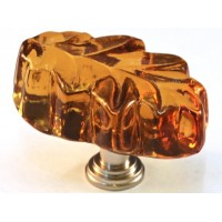 "Amber Oak Leaf Cabinet Knob (1-1/4"") (L2A) by Cal Crystal"