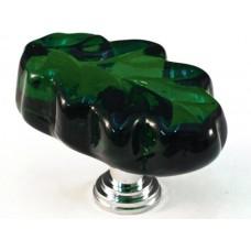 """Green Oak Leaf Cabinet Knob (1-1/4"""") (L2G) by Cal Crystal"""