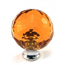 "Amber Round Cabinet Knob (1-3/16"") (M30AMBER) by Cal Crystal"