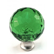"Green Round Cabinet Knob (1-3/16"") (M30GREEN) by Cal Crystal"
