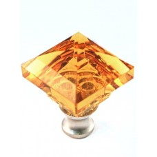 "Amber Square Cabinet Knob (1-1/4"") (M995AMBER) by Cal Crystal"