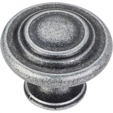 "Arcadia Cabinet Knob (1-1/4"") - Distressed Antique Silver (107ASM) by Elements"
