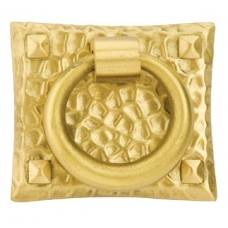 Hammered Ring Drop Pull (1-3/4 x 1-1/2) - Satin Brass (86040) by Emtek