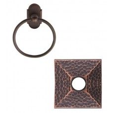 Arts & Crafts Towel Ring w/Hammered Rosette (2601) by Emtek