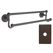 "Traditional Brass 18"" Double Towel Bar w/Modern Rectangular Rosette (26031) by Emtek"