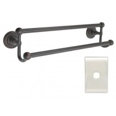 "Traditional Brass 18"" Double Towel Bar w/Neos Rosette (26031) by Emtek"
