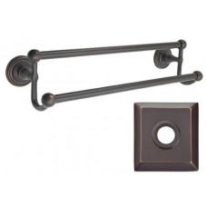 "Traditional Brass 18"" Double Towel Bar w/Quincy Rosette (26031) by Emtek"