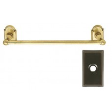 "Traditional Brass 12"" Towel Bar w/Rectangular Rosette (26024) by Emtek"