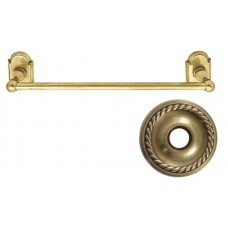 "Traditional Brass 12"" Towel Bar w/Rope Rosette (26024) by Emtek"