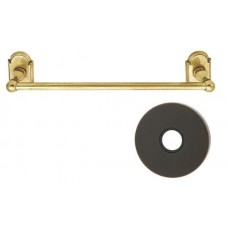 "Traditional Brass 12"" Towel Bar w/Small Disc Rosette (26024) by Emtek"