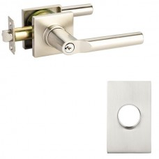 Hanover Keyed Lever Door Set w/ Modern Rectangular Rosette (5123) by Emtek